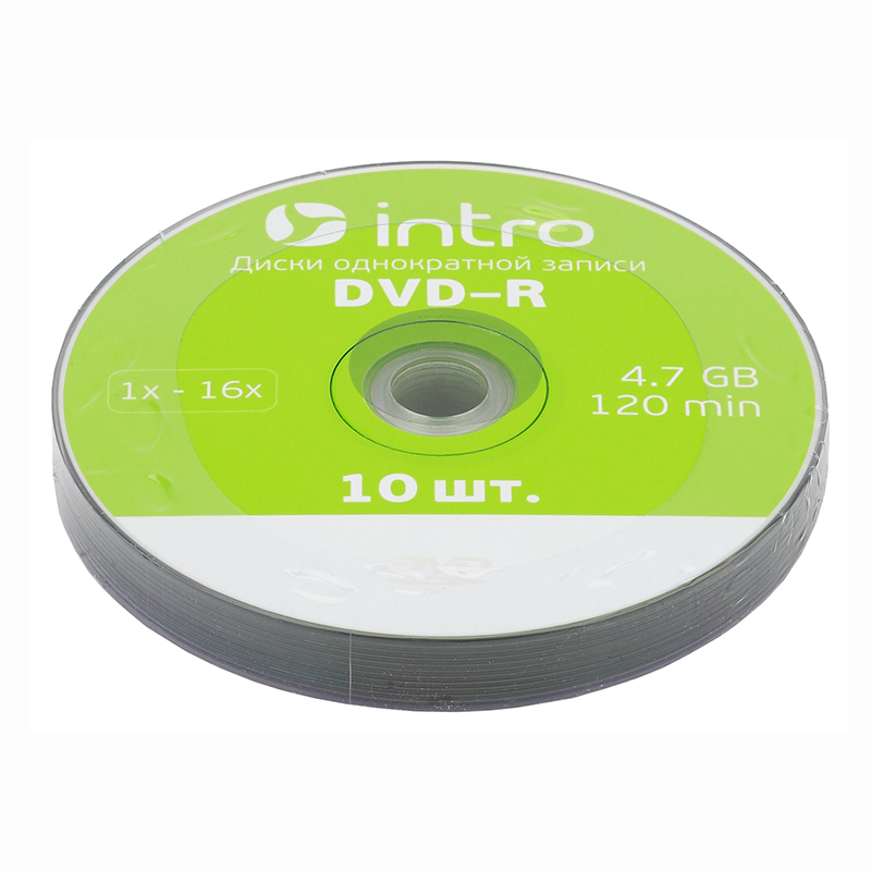 "Диск DVD-R ""INTRO"" Shrink 4.7Gb 16x  10 шт — Абсолют"