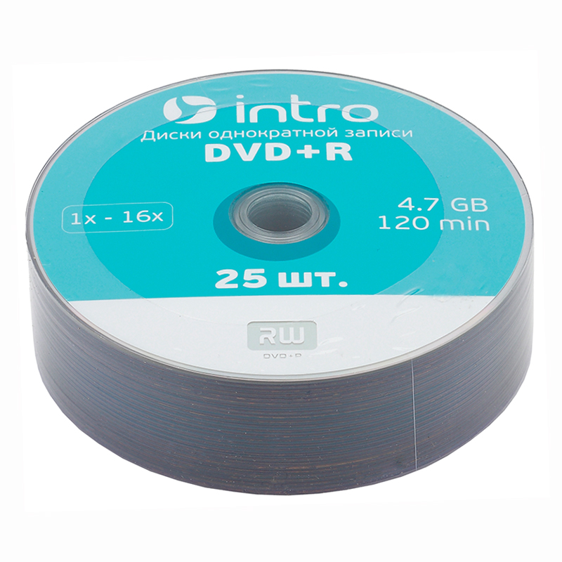"Диск DVD+R ""INTRO"" Shrink 4.7Gb 16x   25 шт — Абсолют"