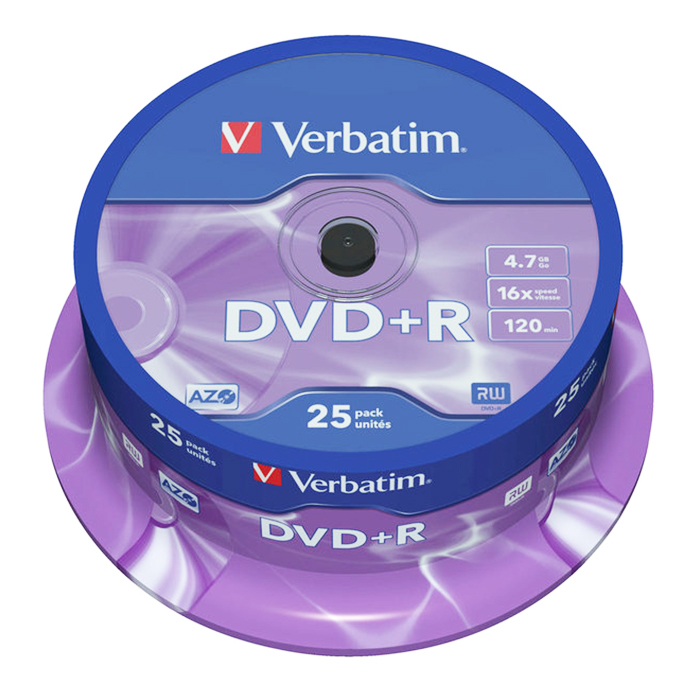 Диск  DVD+R Verbatim 4.7Gb 8x Cake Box 25 шт — Абсолют